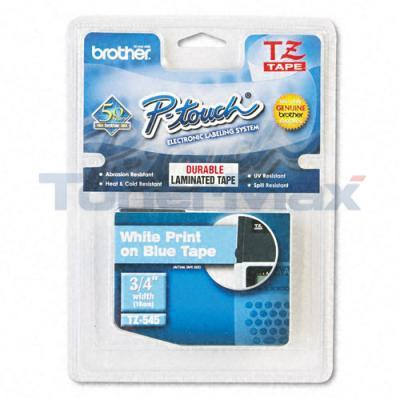 BROTHER TZ TAPE CTG WHITE ON BLUE 3/4IN WIDTH